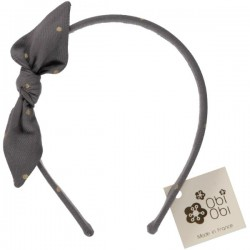 Gold Dots Grey Bow Headband