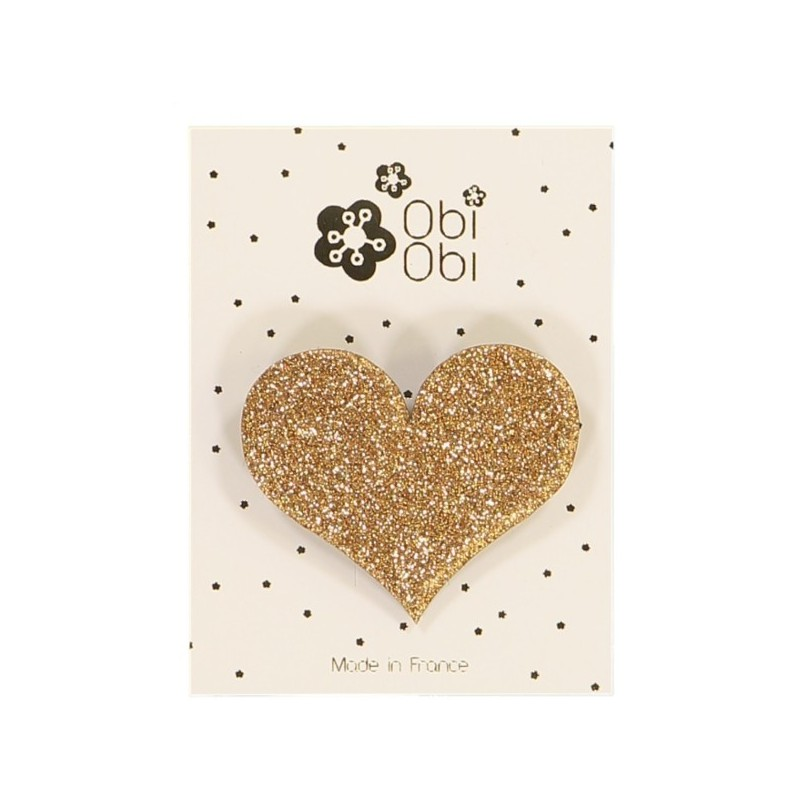 Glitter Heart Hair Clip - Gold