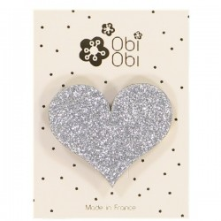 Glitter Heart Hair Clip - Silver