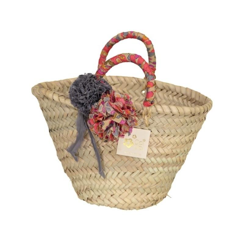 Fluo Thé Liberty Pom Straw Bag