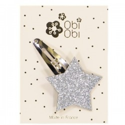Silver Glitter Star Hairclip