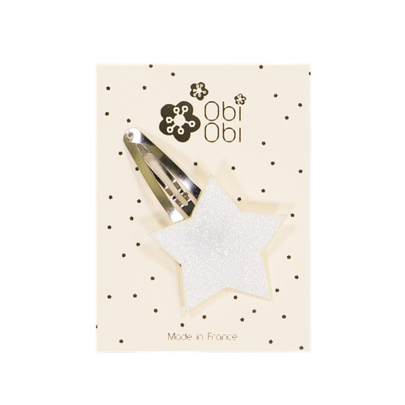 White Glitter Star Hairclip