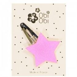 Glitter Star Hairclip Neon Pink