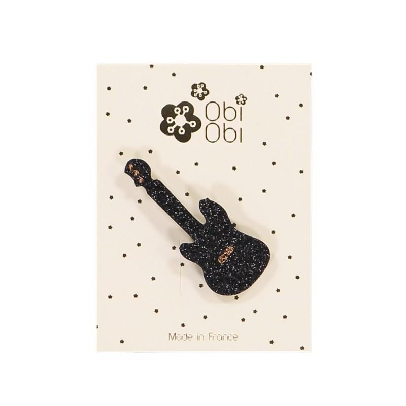 Black Glitter Guitar Hair Clip