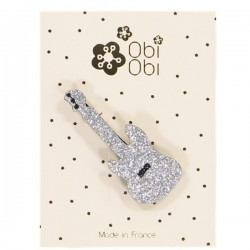 Silver Guitar Brooch
