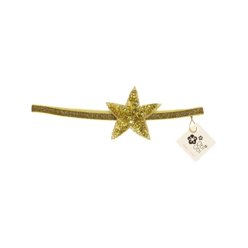 Gold Sequin Star Elastic Headband