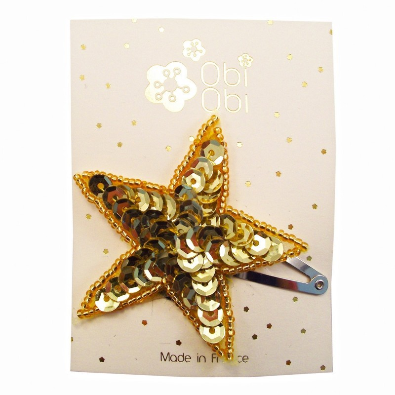Gold sequin star hair clip