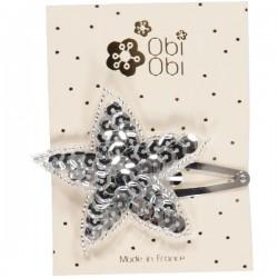 Silver sequin star hair clip