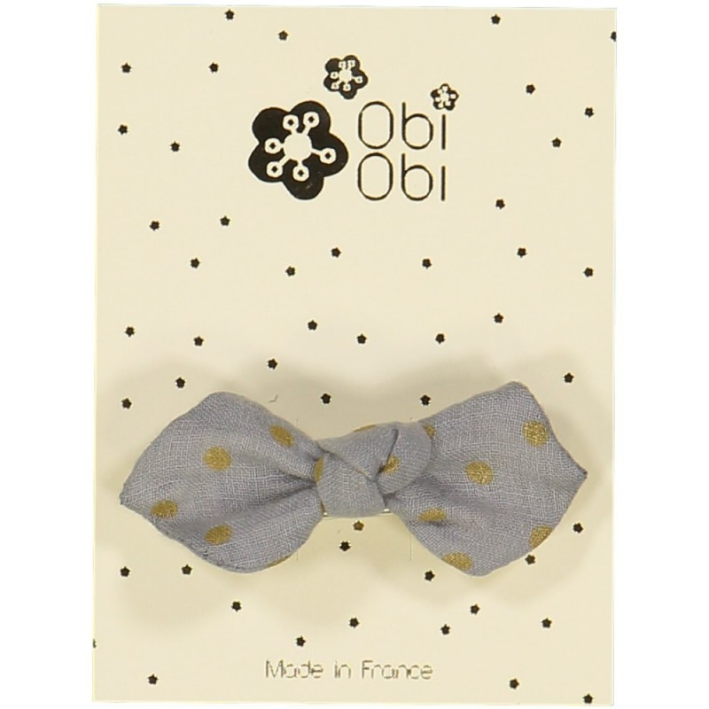 Pearl Grey Dots Bow Hairclip