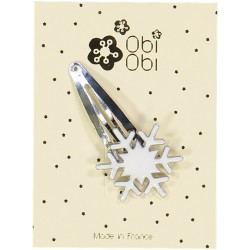 Barrette Flocon Email Blanc