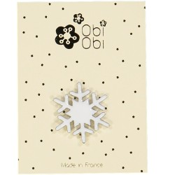 White Enamel Snow Flake Brooch