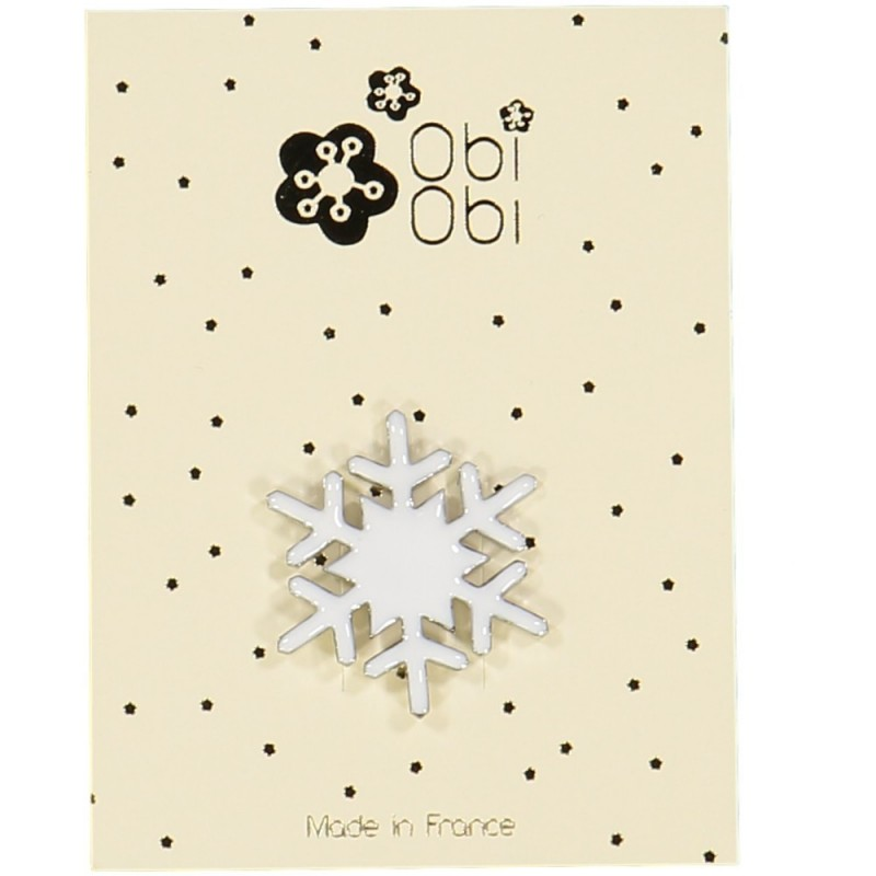 Broche Flocon Email Blanc
