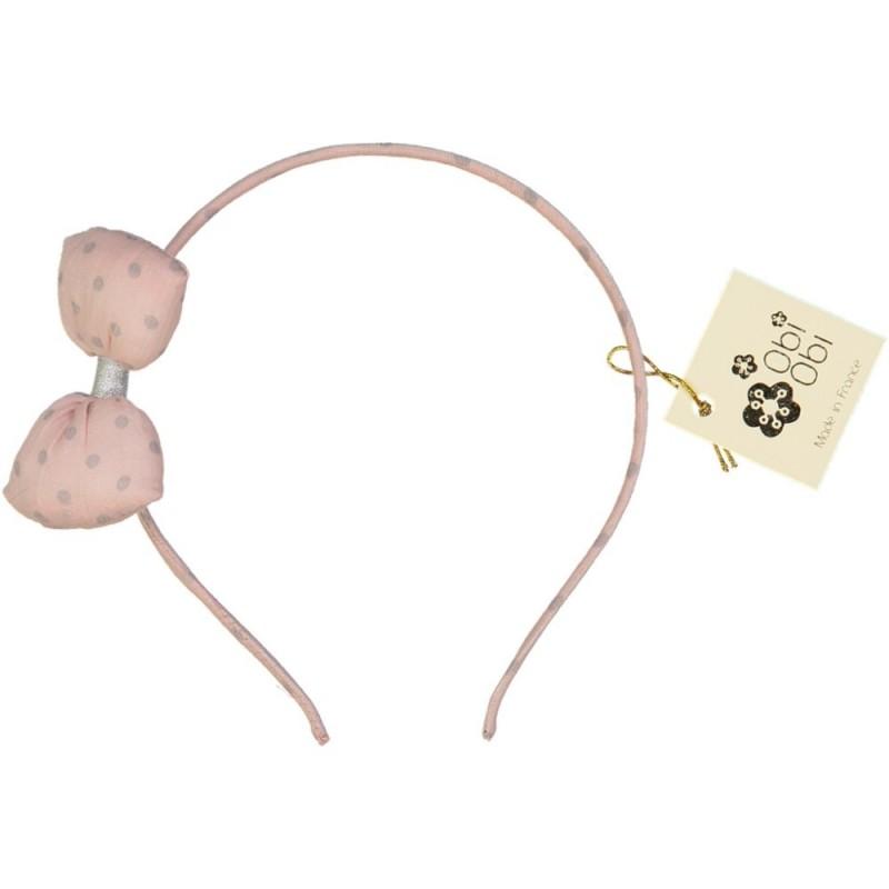 Serre-tête Bonbon Pois Rose Givré