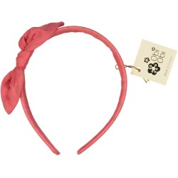 Coral Pink Dots Bow Headband