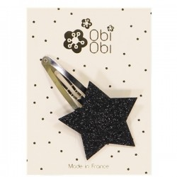 Glitter Star Hairclip - Black