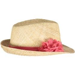 Chapeau de Paille Pompon Corail Pois Or