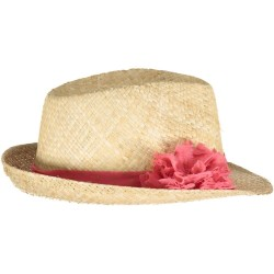 Coral Gold Dots Straw Hat