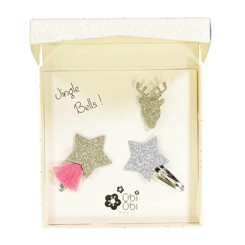 Broches cerf étoiles cadeau de noël enfant