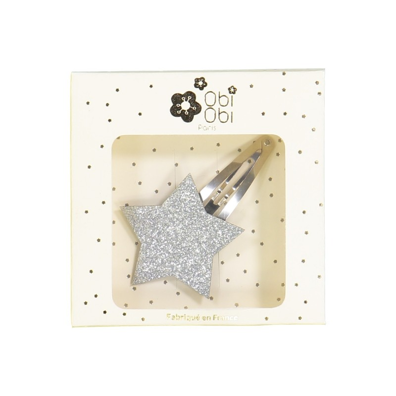silver star non-slip hair clips glitter girls accessory
