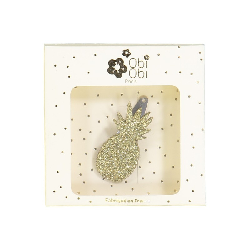 Pince fille ananas paillettes or