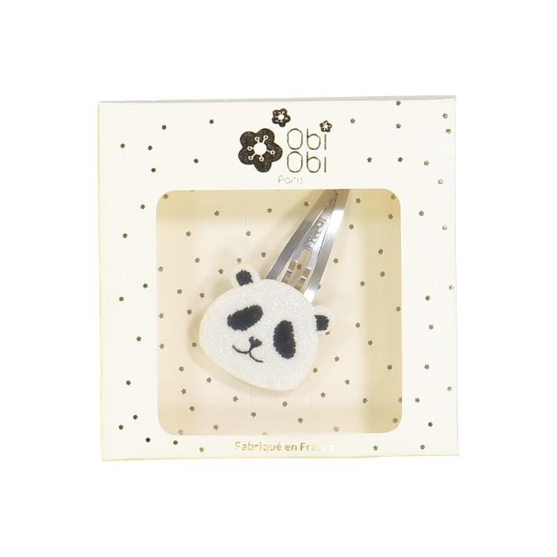 Pince panda fille paillettes blanc noir