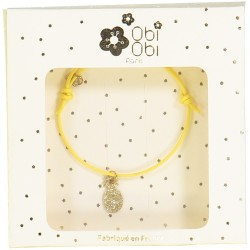 Yellow bracelet with gold pineapple