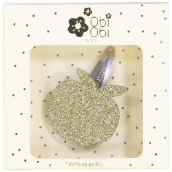 apple glitter gold hair clip hairstyle accessory
