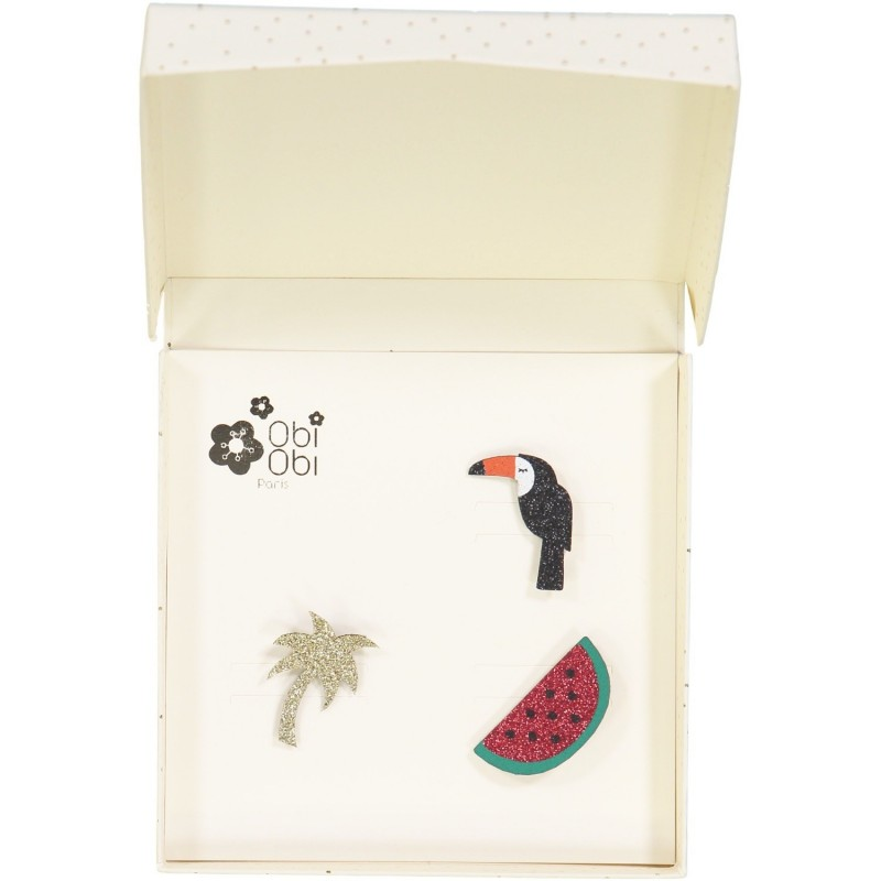 Brooches palm watermelon toucan