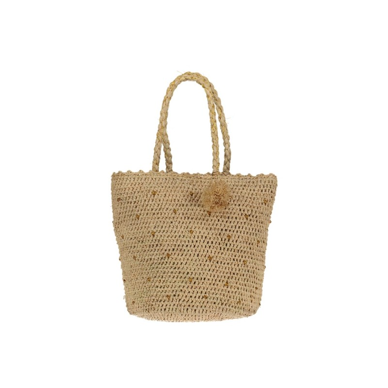 Raffia Basket with Golden Dots