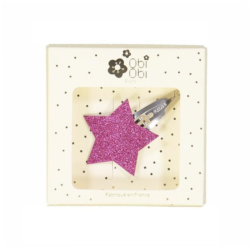Barrette fille paillettes glitters étoile rose fuchsia