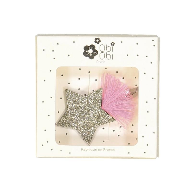 shooting star handmade glitter non-slip hair clips