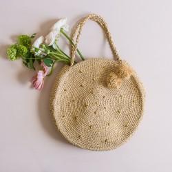 Large round straw bag