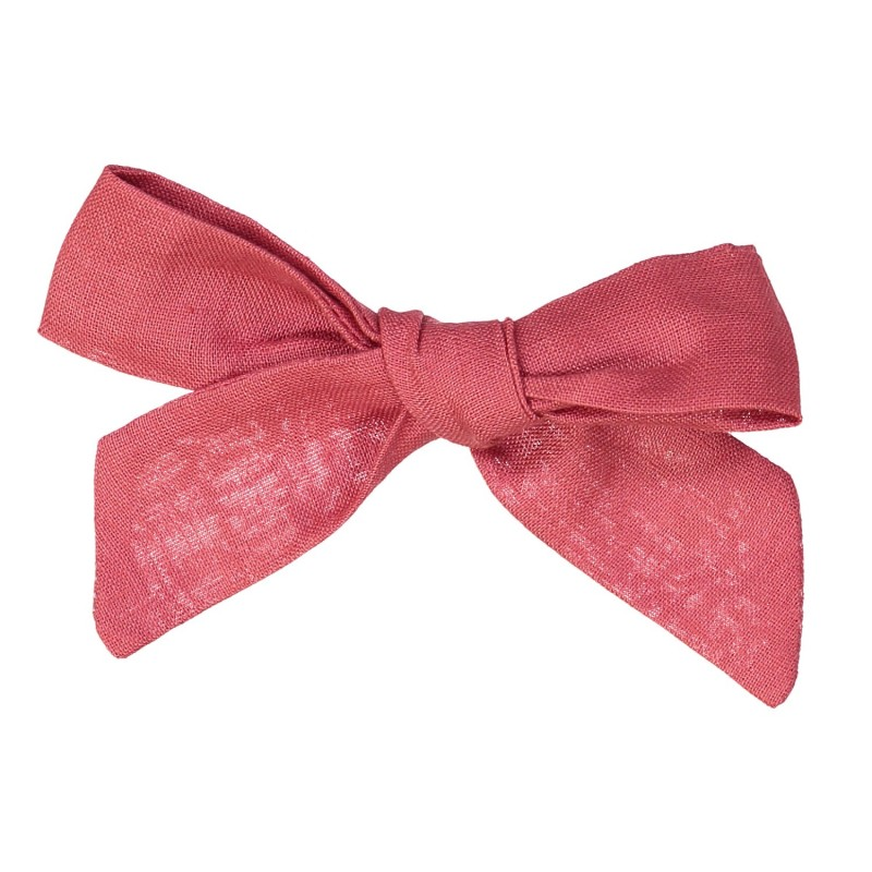 Large linen bow hair clip girls women accessories strawberry pink