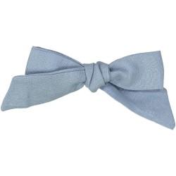 Large blue jean linen bow hair clip