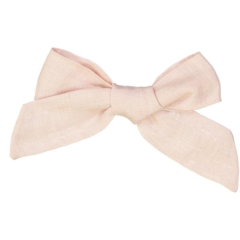 Large linen bow hair clip girls women accessories ballerina pink
