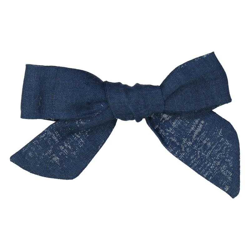 Large dark blue linen bow hair clip girls women accessories