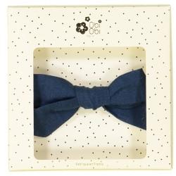 Big linen bow hair clip girls dark blue