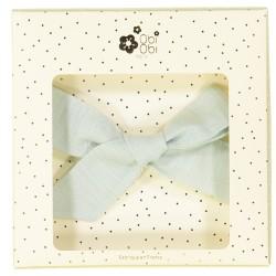 Large linen bow hair clip little girls green aqua
