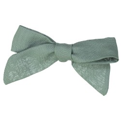 Large green linen bow hair clip girls women accessories