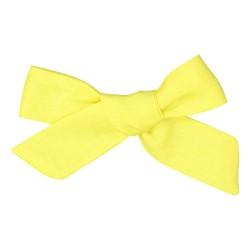 Barrette cheveux lin noeud maxi jaune citron