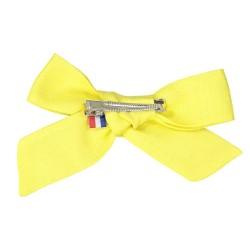 Barrette noeud jaune citron fait main France
