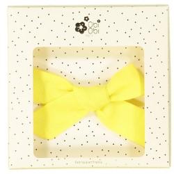 Grande barrette nœud fille lin jaune
