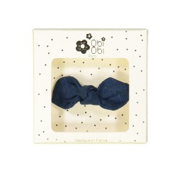 night blue linen bow non-slip hair clips