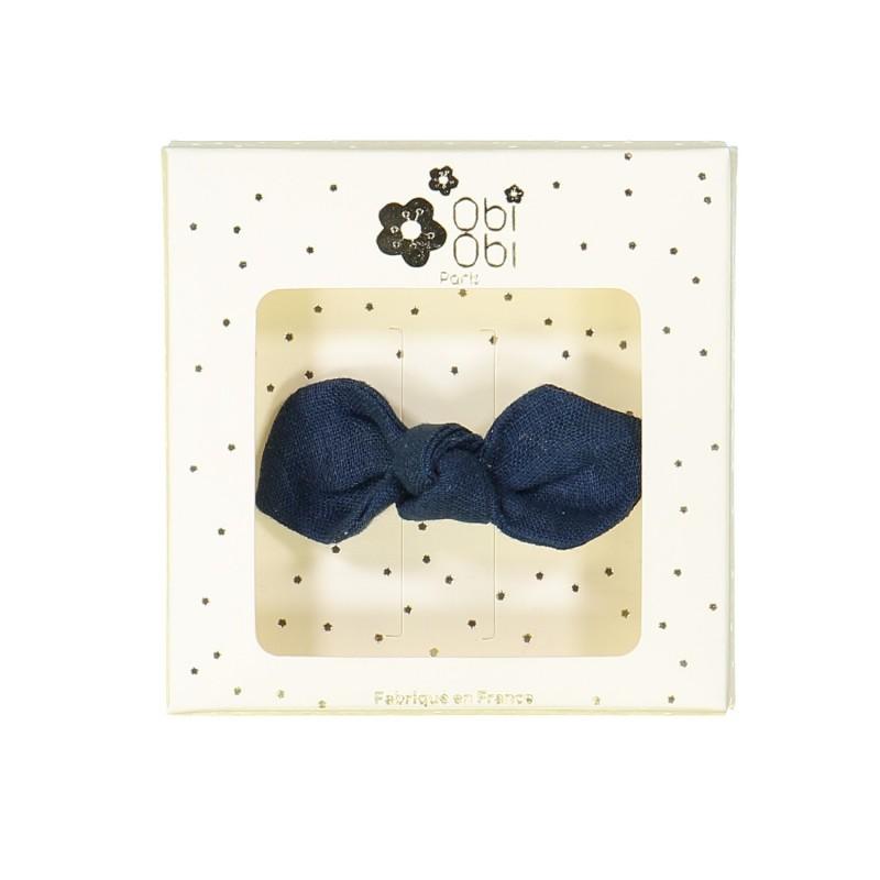 night blue linen bow non-slip hair clips