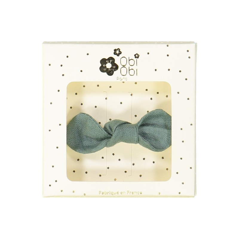 eucalyptus green linen bow hair clips kids accessories