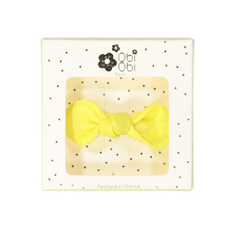 yellow lemon linen bow hair clip girls accessories