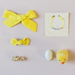 Bow hair clip girls women accessories yellow lemon