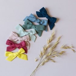 Big linen bow hair clip girls ponytail