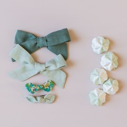 Set linen bow hair clip girls women green