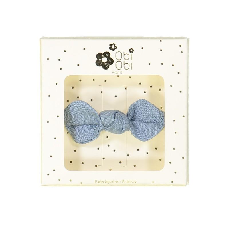 blue jean linen bow non-slip hair clips